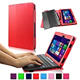 Infiland ASUS Transformer Book T100TAM / T100 / T100TA-C1-GR / T100TAF-B1-BF Window 8.1 Tablet 10.1-Inch Folio PU Leather Stand Keyboard Case Cover (ASUS Transformer Book T100 / T100TA-C1-GR, Red)