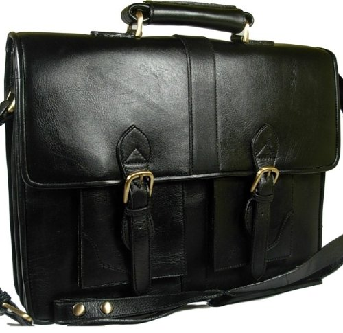New X Large Visconti heavy duty black leather briefcase organiser Style 1929
