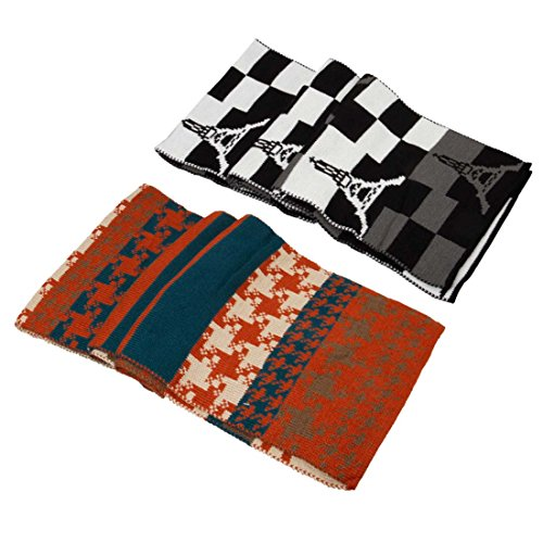 Bmc Eiffel Tower Checker Houndstooth Mix Pattern Mens 2Pk Fashion Knit Scarves