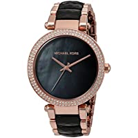 Michael Kors 39mm Parker Glitz Bracelet Watch (Rose Golden/Black)