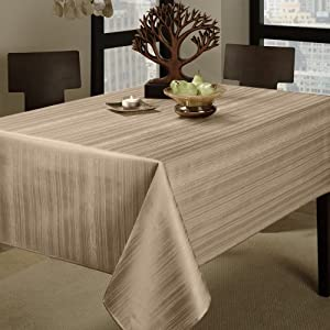 "Benson Mills Flow ""Spillproof"" 60-Inch by 84-Inch Fabric Tablecloth, Ivory"