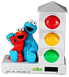 It\'s About Time Stoplight Sleep Enhancing Alarm Clock for Kids, Elmo & Cookie Monster