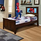 LightHeaded Beds Shaker Twin Bed with back-lit LED Headboard Imagery - Chocolate