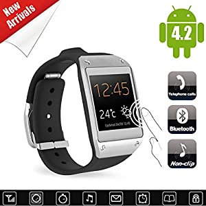 Kool(TM) 1.54 Inch latest HD OSG capacitive screen Display Multi- functional Bluetooth Watch with Pedometer Anti-lost functions , Pedometer, Anti-lost Vibration For IOS Android iPhone Samsung HTC LG Sony Nokia Motorola (Black)