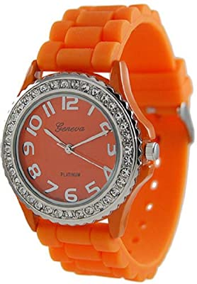 Geneva Platinum Women's 6886.Orange Orange Rubber Quartz Watch with Orange Dial