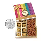 Chocholik Belgium Chocolates - Sinful Treat Of Baklava And Almonds Gift Box With 5gm Pure Silver Coin - Diwali...