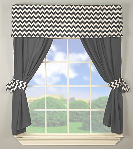 Baby Doll Chevron Window Valance and Curtain Set, Grey