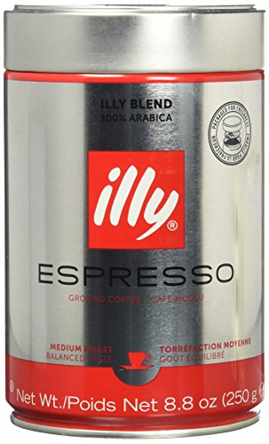 Illy Caffe (Medium Roast, Ground coffee), 8.8 Ounce Tin (Packaging May Vary)