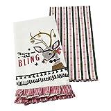Hallmark Home Decorative Cotton Kitchen Tea Towels (Set of 2) Vintage Inspired Christmas Reindeer with Stripes