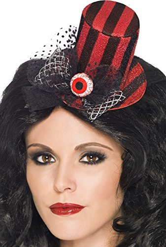 Smiffy's Women's Mini Top Hat Striped and Hair Clip with An Eye Ball On Display Card, Red/Black, One Size - 1