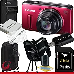 Canon PowerShot SX260 HS Digital Camera (Red) 32GB Package 3