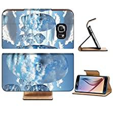 buy Samsung Galaxy S6 Flip Wallet Case Liili Premium Repeating Faces Of Clouds Image Id 11799933