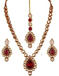 I Jewels Traditional Gold Plated Kundan & Meenakari Jewellery Set With Maang Tikka For Women IJ284Q (Rani/Dark...