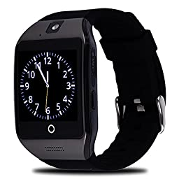 WFS Multifunctional Smart Watch Wrist Watch Phone with Camera NFC Support SIM Card pedometer sleep monitoring Touch-screen mode for Android and IOS (Black)