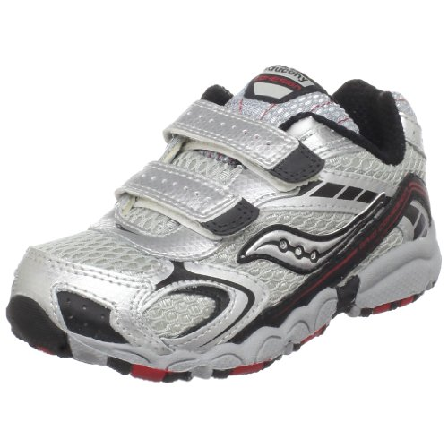 Saucony Cohesion H&L Running Shoe (Toddler),Grey/Black/Red,8 W Us Toddler