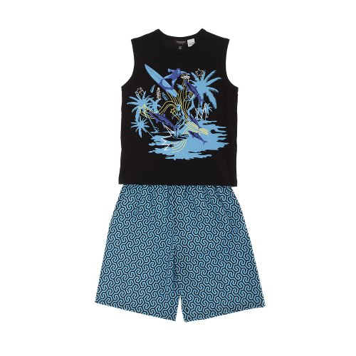 Sovereign Sleepwear Boy Surfer Print Black Vest And Blue Shorts Cotton Pj Set
