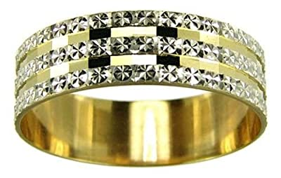 Kareco 9ct 2 Colour Gold 6mm Light Flat Diamond Cut Wedding Ring