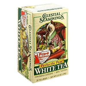 Celestial Seasonings White Tea, Perfectly Pear, 20-Count Tea Bags (Pack of 6)