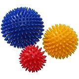 ResultSport® Pack of 3 - Spiky Massage Balls Stress Reflexology - 6cm, 8cm, 10cm - Trigger Point Massage - Environmental Friendly plastic - PAH and Phthalates Free