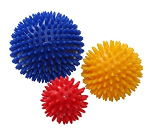 ResultSport® Pack of 3 - Spiky Massage Balls Stress Reflexology - 6cm, 8cm, 10cm - Trigger Point Massage - Environmental Friendly plastic - PAH and Phthalates Free