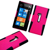 """myLife (TM) Electric Pink and Panther Black Perforated Mesh Series (2 Layer Neo Hybrid) Slim Armor Case for the Nokia Lumia 920 920.2 920T and 920 4G Camera Smartphone by Microsoft (External Rubberized Hard Shell Mesh Piece + Internal Soft Silicone Flexible Gel + Lifetime Warranty + Sealed in myLife Authorized Packaging) """"ADDITIONAL DETAILS: This mesh armor case was designed exclusively for the Nokia Lumia 920 and comes with easy grip gel that allows the case to be gripped firmly in your hand yet slide easily in and out of your pocket without sticking to the lining."""""""