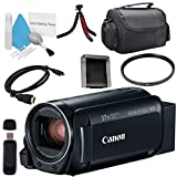 Canon VIXIA HF R800 Camcorder (Black) 1960C002 + Compact Camcorder Case + Memory Card Wallet + Card Reader + Mini HDMI Cable + Tripod Bundle (Color: Black, Tamaño: Base)