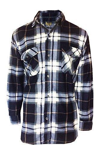 Uomo Pile Camicia A Quadri Bruno Galli Nuovo Lumberjack Top Caldo Casual Abbigliamento Da Lavoro - sintetico, Navy, 100% poliestere, Uomo, M.