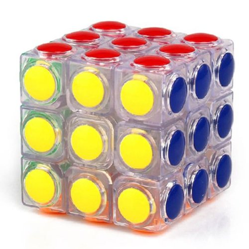 Yj Linggan Inspiration 3x3x3 Cube Puzzle. Round Plastic Tile on Transparent Body - 1