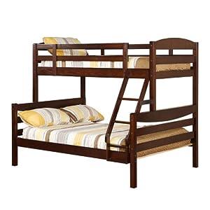 Walker Edison Twin/Double Solid Wood Bunk Bed, Brown by Walker Edison