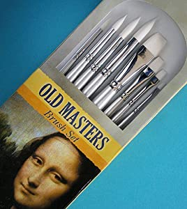 Old Masters Brush Set- 8 White Nylon Bristle Brushes