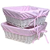 Burlington Baby Large White Willow Basket Set with Liner