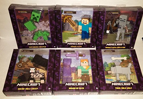 """Minecraft Survival Mode 5"""" figure Complete Set Armor Up Alex, Mining Steve, Exploding Creeper, Arrow Firing Skeleton, Tame-Able Wolf, Shear-Able Sheep"""