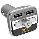 FM Transmitter, QPAU Wireless Bluetooth Transmitter Car Kit Hand-free Radio Receiver W Dual USB Ports Support USB Flash Driver and Micro SD Card