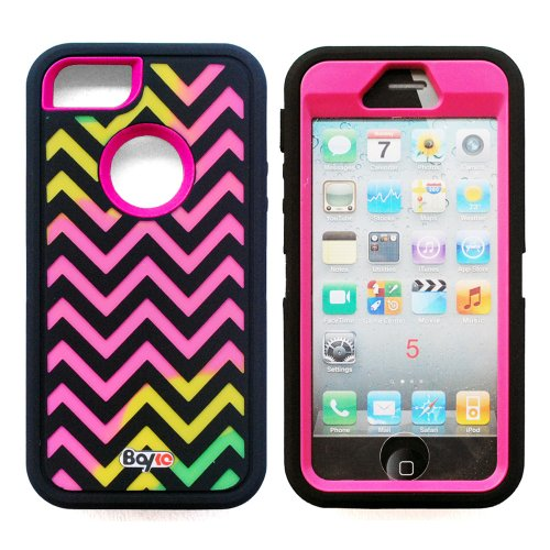 Best  Bayke Brand / Apple iPhone 5 & iPhone 5S 3-Piece Fashion Dual Layer Hybrid Premium Armorbox Armor Defender Case High Impact Dual Layer Hybrid Full-body Protective Case with Built-in Screen Protector (Ziggy Zag Navy Chevron Pattern / Hot Pink)