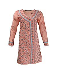 Lucknow Chikan Industry Women's Cotton Straight Kurti (Orange , 38 Inches)
