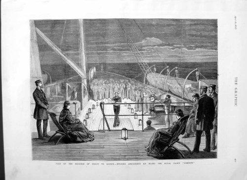 old-original-antique-victorian-print-1877-princess-wales-greece-royal-yacht-osborne-ship-401m115
