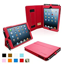 Snugg iPad Mini Leather Case Cover and Flip Stand with Elastic Hand Strap and Premium Nubuck Fibre Interior (Red) - Automatically Wakes and Puts the iPad Mini to Sleep