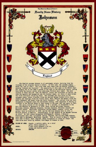 Johnson Coat Of Arms/Crest And Family Name History, Meaning & Origin Plus Genealogy/Family Tree Research Aid To Help Find Clues To Ancestry, Roots, Namesakes And Ancestors Plus Many Other Surnames At The Historical Research Center Store front-124596