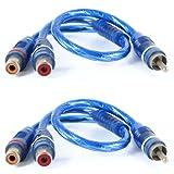 "2 Pcs Male to 2 Female RCA Speaker Splitter Cable Adapter Blue 12"""