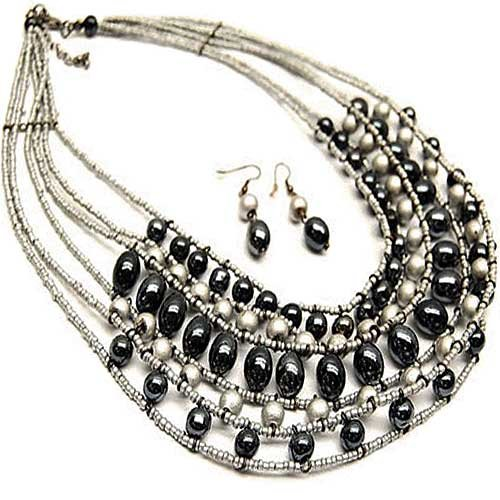 Egyptian Inspired Black and Gray Multi-strand 20 Inch Necklace Set