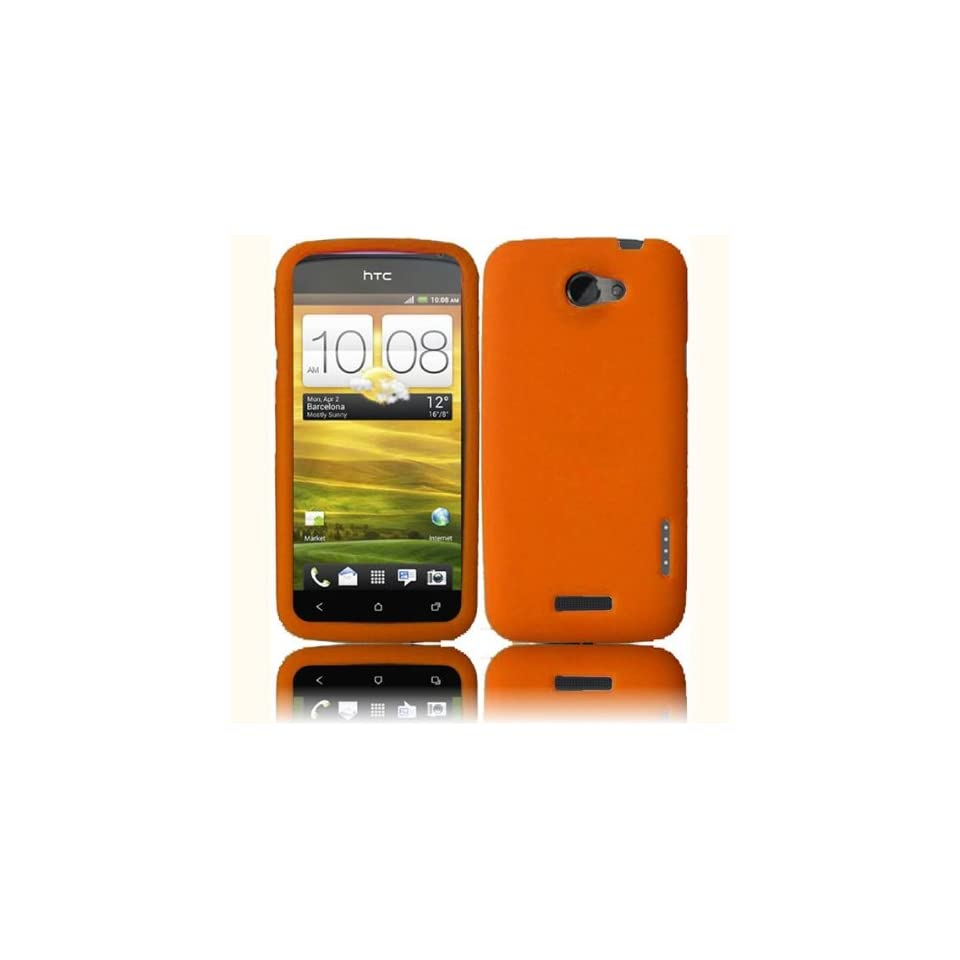 Orange Soft Silicone Skin Gel Cover Case for HTC One S (T MOBILE) + Microfiber Pouch Bag