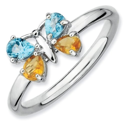 Blue Topaz and Citrine Butterfly Stackable Ring - Size 7