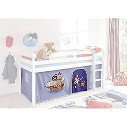 Vorhang Pirat 3-teilig 100% Baumwolle Stoffvorhang Bettvorhang inkl Klettband für Hochbett Spielbett Etagenbett Stockbett Kinderbett hellblau