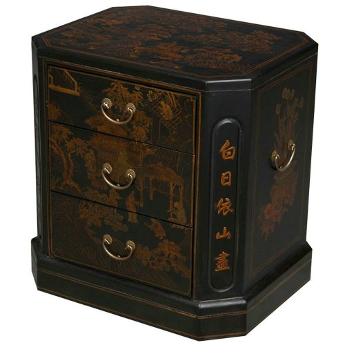 Cheap EXP Handmade Oriental Furniture 24-Inch Antique Style Black Leather 3-Drawer End Table, Oriental Poem (frc5004)