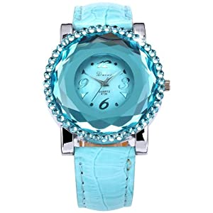 Dalas Lady Women Elegant Light Blue Crystal Analog Leather Quartz Dress Wrist Watch WAA460
