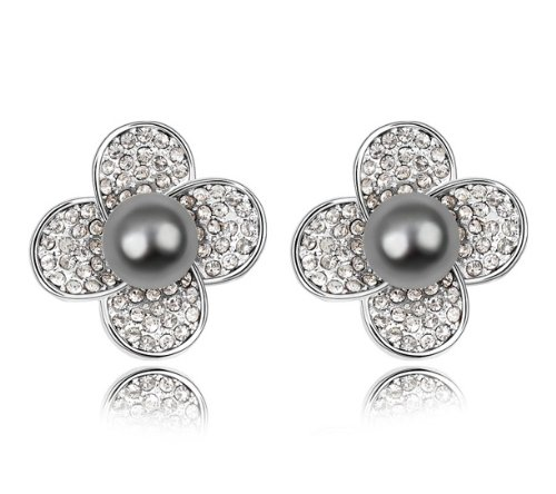 Purplelan-Studded with Swarovski Element Crystal Grey Faux Pearl Stones Necklace Stud Earrings SE6388