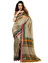 Prafful Silk Bhagalpuri Printed Saree With Unstitched Blouse - B00KNUQVI2