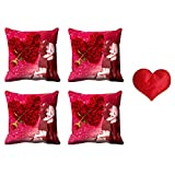 MeSleep Valentine Couple Cushion Cover (16x16) - Set Of 4 With Free Heart Shaped Filled Cushion