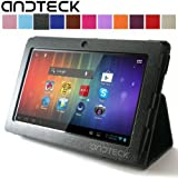 """Andteck Flip Leather Case for Zeepad 7.0, Dragon Touch A13 Q88, Y88, Chromo, FastTouch, Tagital, Noria Jr, Tab Nero 7"""" Tablet PCs w/Dual Camera [Protector/Stand] (Black)"""