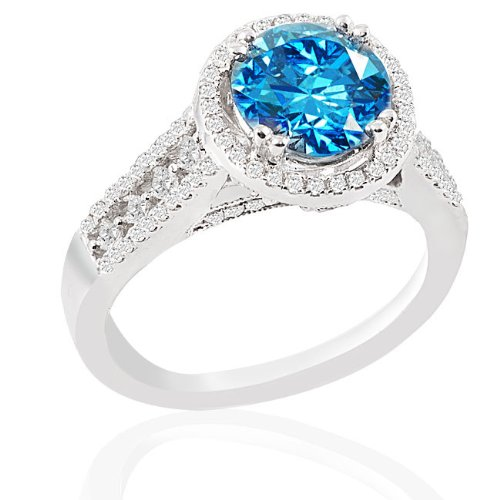 2.05 CT Blue Round Center Diamond and 0.65ct Melee in 14K WGD Ring, Size 7.25. Blue Center Clarity: SI3 White (GH) Melee Clarity: SI1-2. 6.4 gram setting. Treatment codes: Blue Center: F&G , melee: n. ADL certificate.